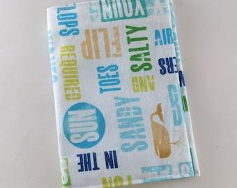 Fabric passport cover - beach words