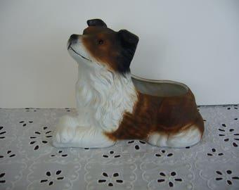 Vintage Ceramic Dog Planter - Brown Sitting Dog Planter - Collie Dog Planter