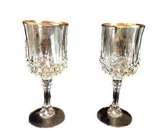 Gold Rim Wine Glasses - Cristal D'Arques - Durand Longchamp Stemware - Vintage Crystal Wine Stemware - Barware Gift