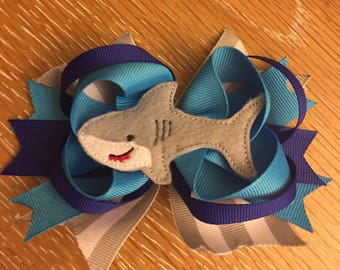 Shark Week Blue Grey Hair Bow