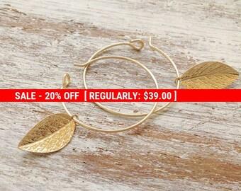SALE 20% OFF Gold earrings, gold filled earrings, hoop earrings, leaf earrings,leaf jewelry,gold filled hoop,simple gold earrings,dainty