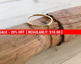 SALE 20% OFF Stacking rings, gold ring, thin gold ring, above knuckle ring, hammered ring, simple ring, gold knuckle ring- RB1