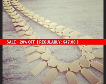 SALE 20% OFF Gold necklace, statement necklace, gold link necklace, evening jewelry, chunky chain necklace 4405