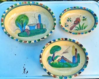 Vintage mexican folk art pottery oval TONALA 3 bowl set