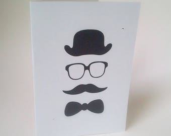 """Mr big moustache"" card with a cream envelope"