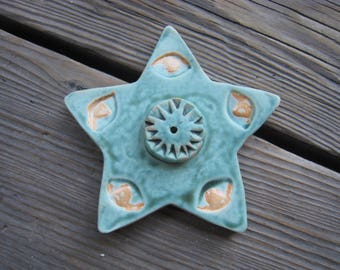 Incense Stick Holder - Star Incense Holder - Teal Incense Burner - Ceramics and Pottery - Ceramic Stick Incense Burner
