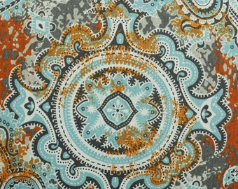 "Aqua Light Mandala Multi Colored Printed Pattern on 55"" Cotton Canvas Fabric by the Yard - Style 3243"