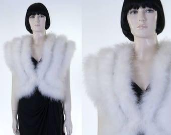Vintage 1980s White Marabou Feather Vest - Size 10 - Feather Wedding Shrug - Bolero Vest - Formal Accessory