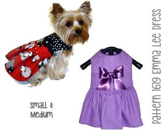 Emma Lee Dog Dress Pattern 1619  * Small & Medium * Dog Clothes Pattern * Designer Dog Dress * Dog Harness Dress * Dog Apparel * Pet Dress