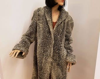 Larger Size Vintage Grey and White Marbled Persian Lamb Swing Coat, ca 1930s