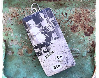 Vintage upcycled domino photo mouthwash jewelry pendant charm for Ride or die jewelry
