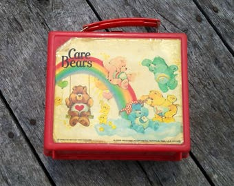 Vintage Care Bears Lunch Box 1983 Aladdin Industries Red Lunch Box with Playful Care Bears on Front I Love the 80s Kids of the 80s Old Box
