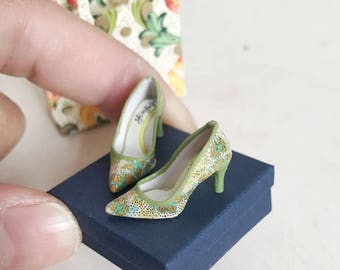 Handmade unique mini shoes 1/12 dollhouse scale