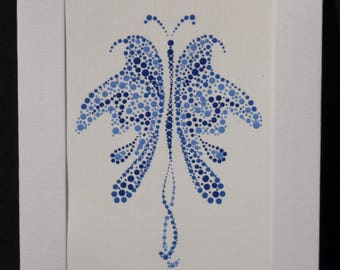 Butterfly dot painting blank greeting card, blue, gift, hand painted
