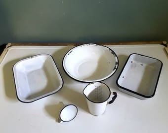 Vintage  Farmhouse Country Kitchen White Enamelware Collection Basin 2 Bins Measuring Cup Funnel