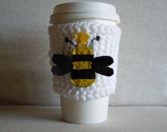 Queen Bee Coffee Cozy, Mug Sweater, Coffee Sleeve, Mug Cozy