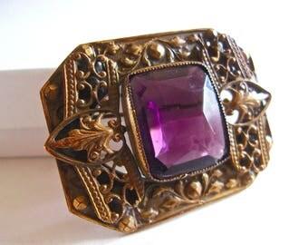Edwardian Purple Amethyst Glass Brooch, Brass, 2 Tier, Antique