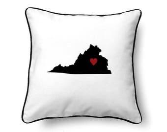 Virginia Pillow - Virginia Gift - Virginia Map - VA State Map