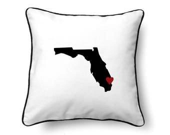 Florida Pillow - Florida Gift - Florida Map - FL State Map