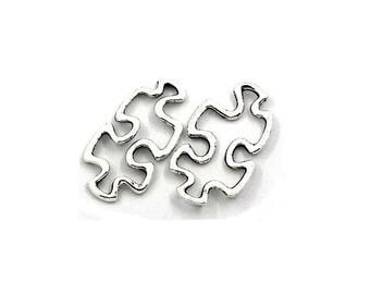 Set of 10 connectors, silver puzzle piece, 30x18mm