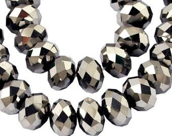 Row of 70 faceted silver glass rondelle beads 8 * 6mm