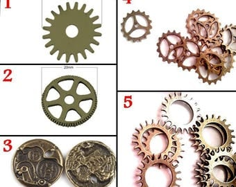Set of 10 charms gears for steampunk creation, bronze, 5 designs to choose from
