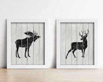Rustic Nursery PRINTABLE Art Prints - Woodland Animals - Baby Shower Gift - Digital Art - Deer and Moose - Set of Two - Black and Grey