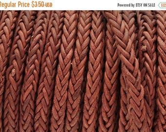 """30% OFF 4mm Round Braided Bolo Genuine Leather Cord 24"""" - Vintage Pink"""
