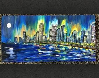 Acrylic Painting Chicago Skyline Reflection on Lake Michigan