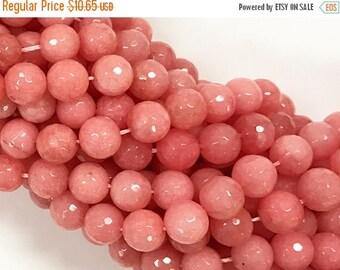 25% OFF 10mm Jade Salmon Coral Color Gemstone Fac. Round Beads Full 14.5 Inch Strand 38 Beads, Pink Gemstone Beads - SJA153