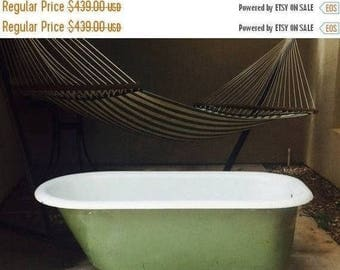 Sexy Spring Sale 25% off JUNE  PAYMENT Antique Green Paint & Weathered Patina Claw Foot Bathroom Tub 30'W X 56'L X 22.5'H  Local Pick up Onl