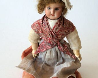 French Antique Doll Porcelain Traditional Costume