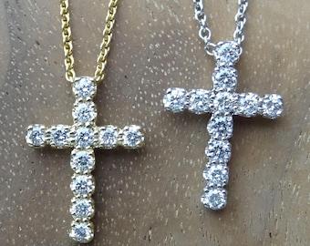 Small Diamond Cross Pendant 18k Yellow Gold