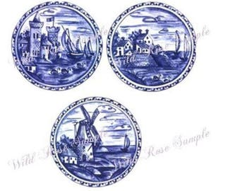VinTaGe DuTcH BLuE DeLFT PLaTeS ShaBby DeCALs