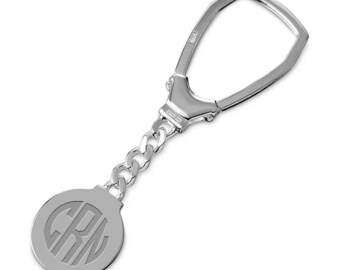 Personalized Sterling Silver high Polish Round Keychain
