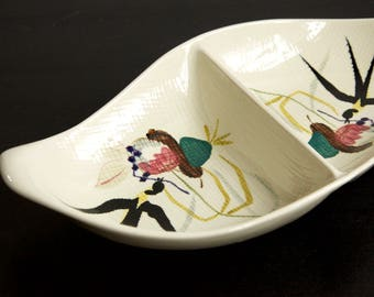 Red Wing Oval Divided Vegetable Bowl in Capistrano | Handpainted #215