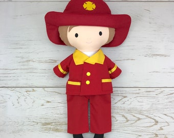 Cloth Fireman Doll - Fabric Doll - Dress Up Doll - Handmade Doll - Rag Doll - Room Decor - Heirloom Doll
