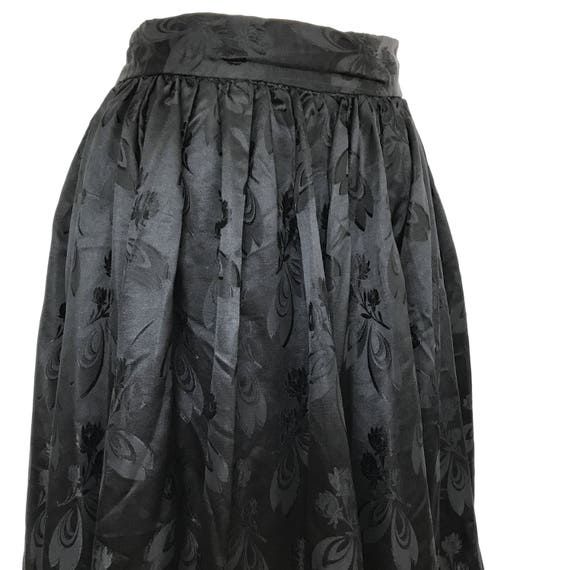 "Vintage skirt long gathered skirt black satin full flared vintage 1930s 1940s goth girl pin up macabre 28"" high waist floral damask"