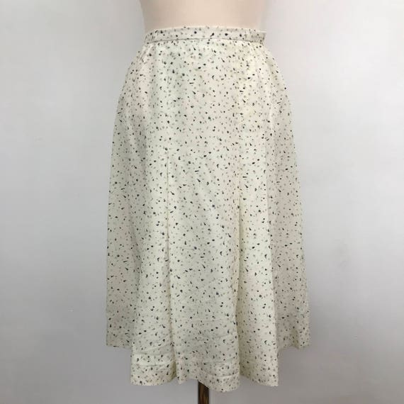 Vintage skirt cream pleated skirt summer weight green flecked UK 8 front pleat polycotton mix 1940s style Windsmoor 25""