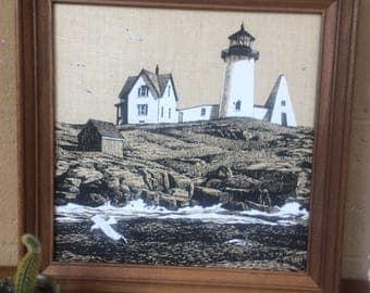 "1970's Vintage KayDee Framed Linen Lighthouse/ Coastal Screenprint, 16"""
