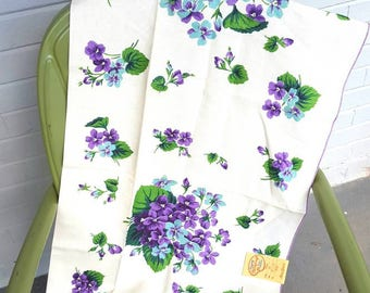 1950s Mid Century Hardy Craft Hand Printed Linen Tablecloth Violets New Old Stock