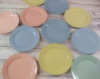 LuRay Pastels Dessert Plates, Taylor, Smith Taylor Bread and Butter Plates, set of 11
