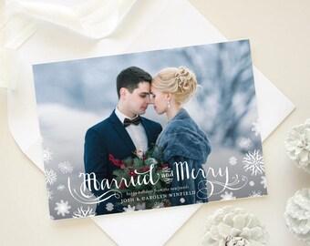 Wedding Thank You Card Christmas Wedding Photo Thank You Card