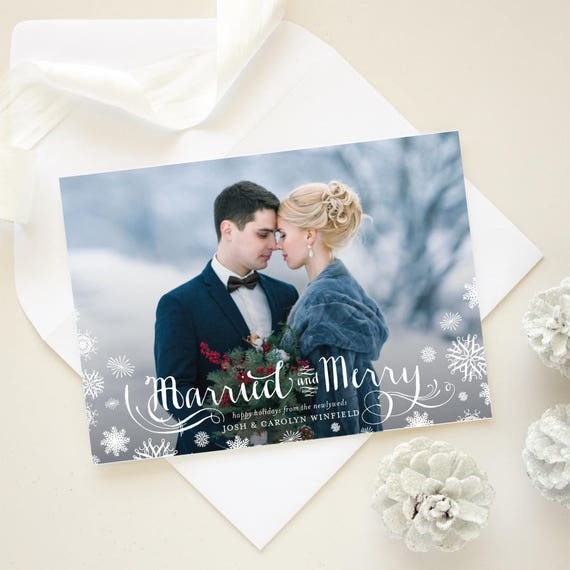 Winter Marriage Announcement Holiday Card, Newlywed Christmas Card, Winter Wedding Photo Card - Snowflakes Frosted