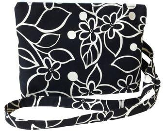 Small Cross Body Bag/ Messenger Bag/ Black and White/ Flowers print