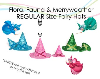 Flora Fauna and Merryweather REGULAR Size Fairy Hats Sleeping Beauty Good Fairies Regular Hats SINGLE
