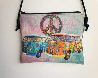 Shoulder bag, crossbody bag, printed bag, little bag, VW van, van hippie, peace, combi hippie,  hippie bag, peace bag
