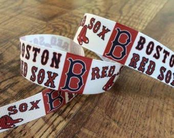 5 yards 7/8 Boston Red Sox ribbon. Red Sox ribbon, baseball ribbon, Red Sox hairbows, grosgrain ribbon, craft, crafting, sewing,
