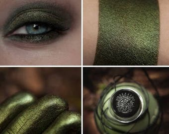 Eyeshadow: Restoring Justice - Mountain Thorp. The dark olive satin eyeshadow by SIGIL inspired.