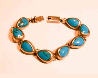 """Large thick marked .925 Mexico turquoise sterling 7"""" bracelet"""
